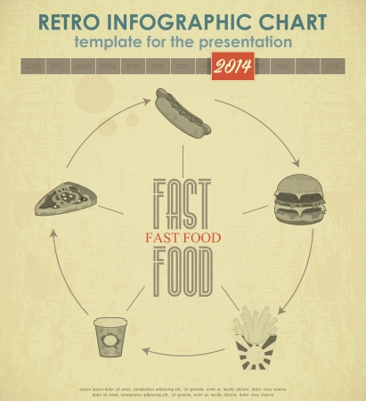 Elements of Infographics for presentations. Fast Food Chart.  Vector