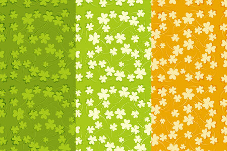St.Patricks Day Seamless Backgrounds Set with Shamrock. Irish Flag.  Vector