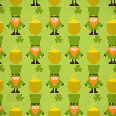 St.Patricks Day Seamless Background with Shamrock and Leprechaun.  Vector