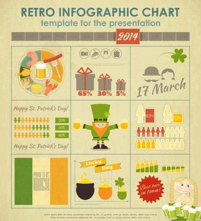 St.Patrick's Day Infographics Card. Set of Design Elements.  Vector