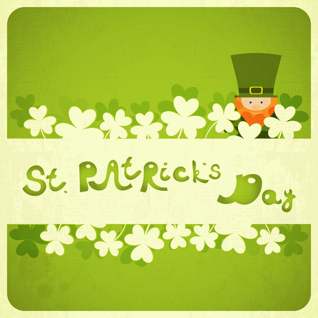 St.Patricks Day Card with Shamrock and Leprechaun. Hand Lettering.  Vector
