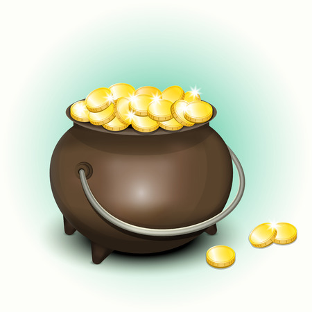 Magic Pot with Gold Coins for Patricks Day. Stock Vector - 24477412