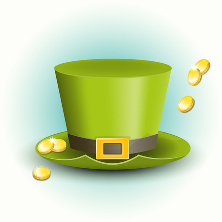St Patricks Day Hat with Coins.  Vector