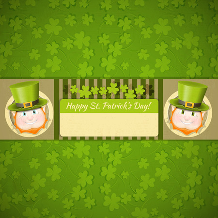 cartoon shamrock: Patricks Day Retro Card with Shamrock and Two Leprechauns. Place for Text.  Illustration