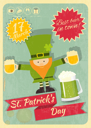 Patricks Day Retro Card with Leprechaun. Beer Party.  Vector