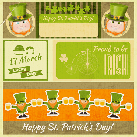 Set of Patricks Day Retro Cards with Shamrock and Leprechauns. Place for Text.  Vector