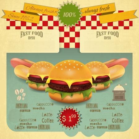 レトロなファーストフードのメニュー。ハンバーガーとホットドッグ。ベクトル イラスト