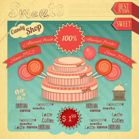 cafe bombon: Sweet Candy Shop. Vintage Tarjeta Retro. Ilustraci�n vectorial