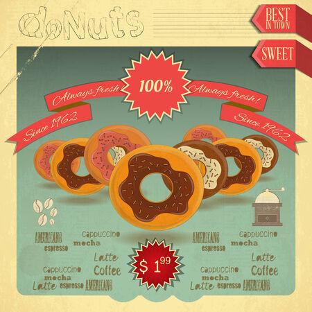 cartoon menu: Retro postcard, Cover menu - Donuts Menu on Vintage background. Vector illustration Illustration