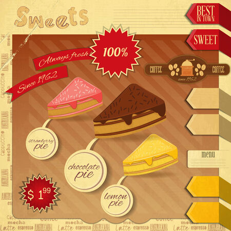 Cafe Confectionery Menu Card in Retro style. Cakes. Vector illustration Vector