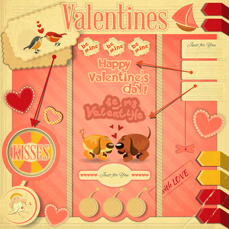 Retro Design of Valentines Card with design elements Vector