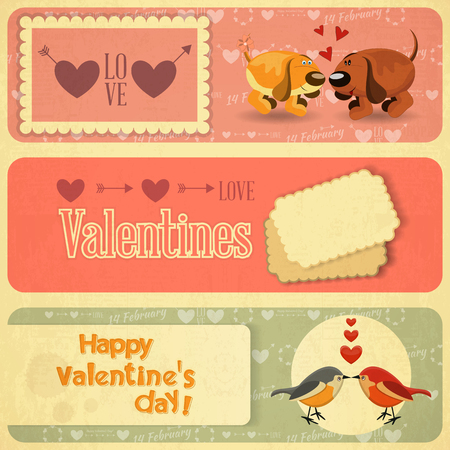 Retro Design of Valentines Card with design elements  in Retro Style. Set. Vector Illustration. Vector