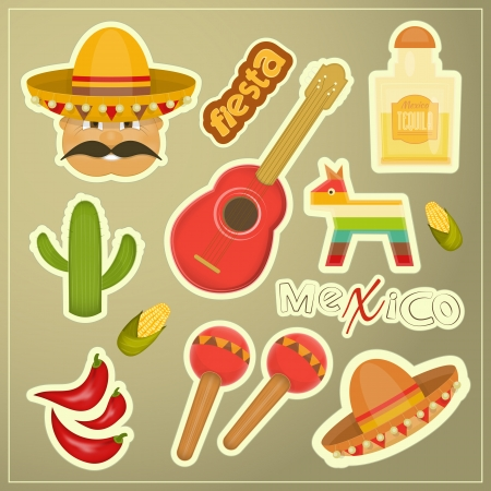 pinata: Set of Mexican Icons. Vector Illustration.