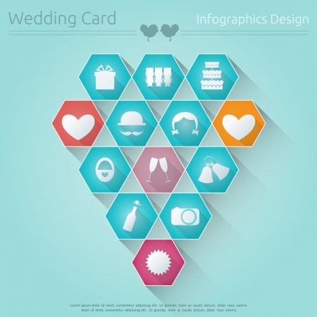 Wedding Card in Infographics Style. Flat Design. Vector Illustration. Vector