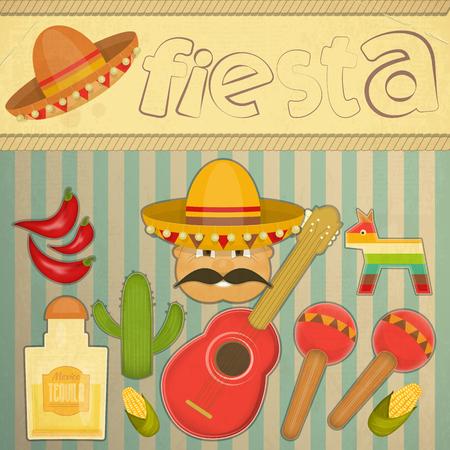 fiesta: Mexican Fiesta Card in Retro Style. Vector Illustration. Illustration