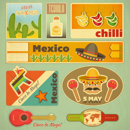 Set of Mexican Stickers in Retro Style. Vector Illustration. Çizim