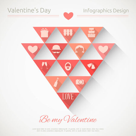 Valentines Card in Infographics Style. Flat Design. Vector Illustration. Vector