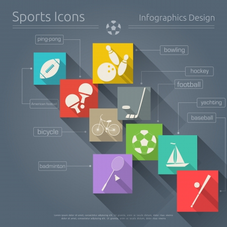 Flat Icons Set - Sports in Retro Style - Infographics Design. Vector Illustrations Vector