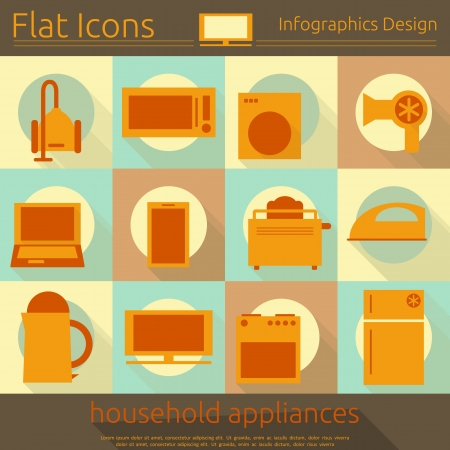 flat iron: Flat Icons Set - Home Appliances in Retro Style - Infographics Design. Vector Illustrations