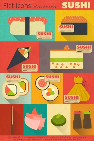 Set of Retro Sushi Labels in Vintage. Flat Design.  Mobile UI Style.Vector Illustration. Stock Vector - 25249541