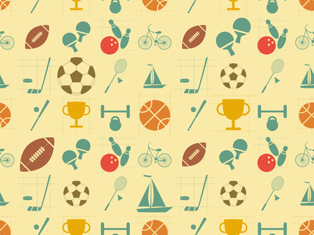 Seamless Background - Sports in Retro Style - Flat Design. Vector Illustrations Vector