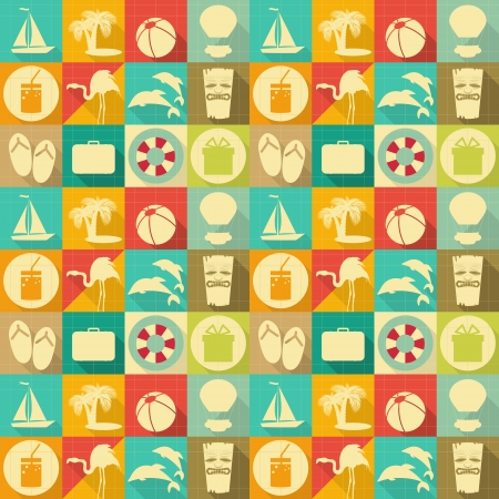 Seamless Background - Travel Items in Retro Style - Flat Design. Vector Illustrations  Vector