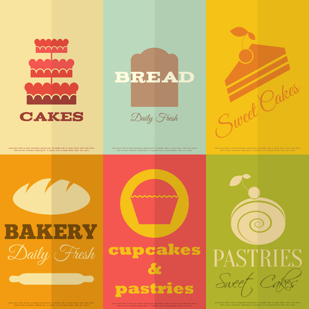 Set of Retro Bakery Labels in Flat Design Style. Vector Illustration. Vector