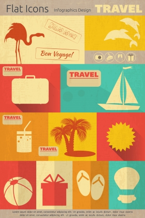Flat Icons Set - Travel Items in Retro Style - in Mobile UI Style. Vector Illustrations
