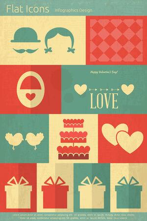Vintage Valentines Card in Mobile UI Style. Flat Design. Vector Illustration. Vector