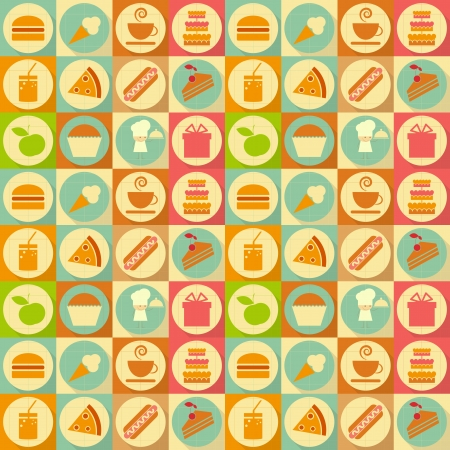 Seamless Background - Food Labels in Retro Style - Flat Design. Vector Illustrations  Vector