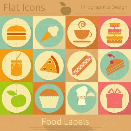 Flat Icons Set - Food Labels in Retro Style - Infographics Design. Vector Illustrations  Vector