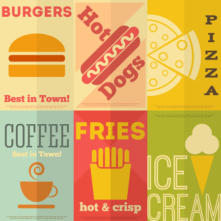yummy: Retro Fast Food Posters Collection in Flat Design Style. Vector Illustration.