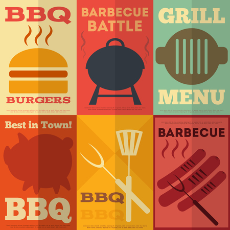 Retro Barbecue  Posters Collection in Flat Design Style. Vector Illustration.  イラスト・ベクター素材