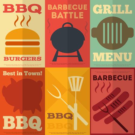 barbecue: R�tro Barbecue collection d'affiches en plat de style de conception. Vector Illustration. Illustration