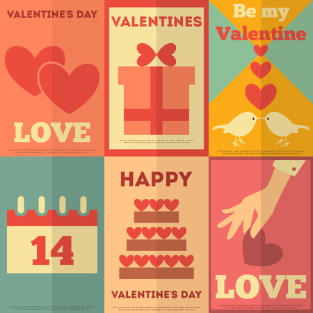 Retro Valentines Posters Collection. Flat Design. Vector Illustration. Vector