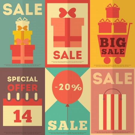 Retro Sale Posters Collection in Flat Design Style. Vector Illustration.