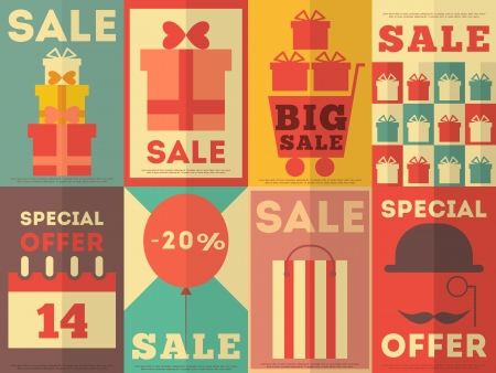 Sale Posters Retro  Collection in Flat Design Style. Set. Vector Illustration. Vector