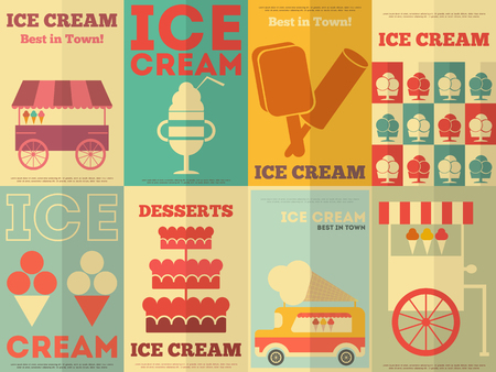 Ice Cream Retro Posters Collection in Flat Design Style. Vector Illustration. Vector