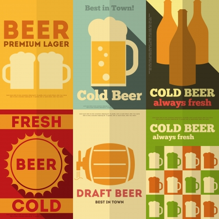 Beer Retro Posters Collection in Flat Design Style. Vector Illustration. Ilustração