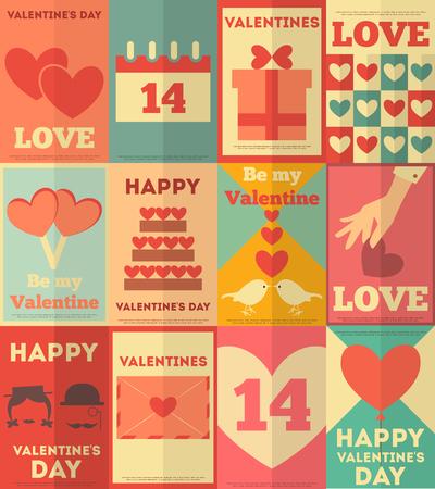 Valentines Retro Vintage Posters Collection. Flat Design. Vector Illustration. Illustration