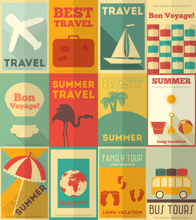 suitcase: Travel Posters Set - Vacation Items in Retro Style - Flat Design Style. Vector Illustrations.