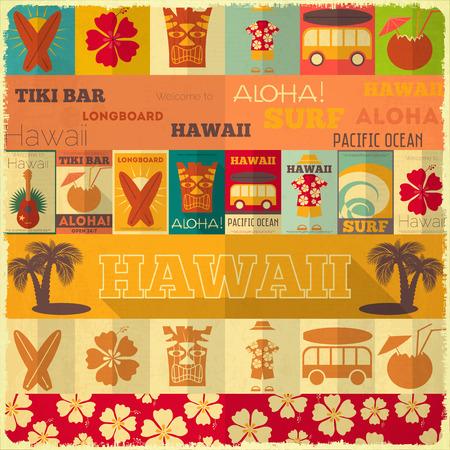 surf silhouettes: Hawaii Retro Card Surf in Vintage Design Style. Illustrazione vettoriale.