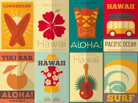 フラットなデザイン スタイルでハワイ サーフィン レトロ ポスター コレクションです。ベクトル イラスト。