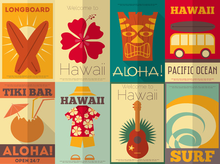 tiki party: Hawaii Surf Retro Posters Collection in Flat Design Style. Vector Illustration.