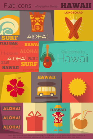 tiki party: Hawaii Surf Retro Labels Collection in Flat Design Style. Mobile UI Style. Vector Illustration.