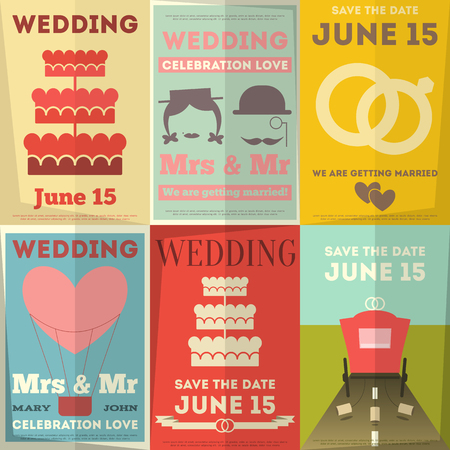 Wedding Posters Set. Retro Wedding Invitation in Flat Design Style. Vector Illustration. Illustration