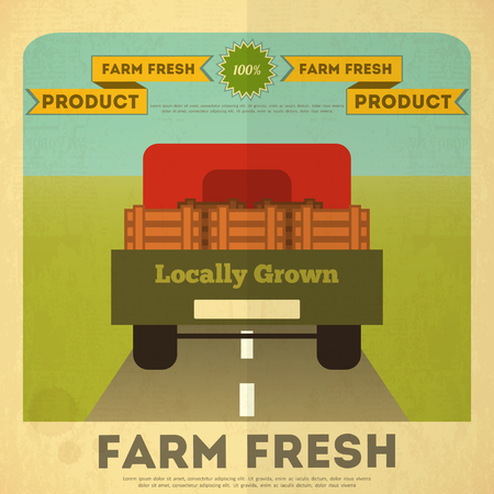 Farm Organic Food Poster. Retro Placard with Truck. Vector Illustration. Illustration