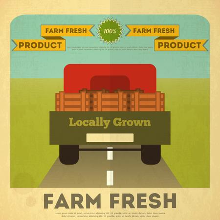 retro truck: Farm Organic Food Poster. Retro Placard with Truck. Vector Illustration. Illustration