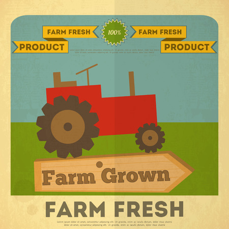 Farm Organic Food Poster. Retro Placard with Tractor. Vector Illustration. Vector