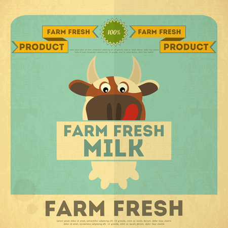 dairy cow: Farm Fresh Milk Poster. Retro Placard with Cow. Vector Illustration.